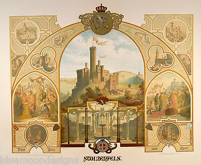 SCHEUREN 1870 - Stolzenfels Königsbach Lahn Domfels Rhein GROSSES Souvenirblatt