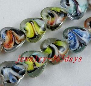 15pcs Handmade Glass Heart Shaped Spacers 16mm P371