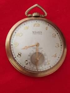 "Pocket Watches 100% True Gruen Veri-thin Precision Pocket Watch 17 Jewels 10k Gold Filled 1.75""d Runs Factory Direct Selling Price"