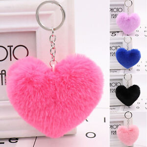 Heart-Shape-Soft-Fluffy-Fur-Ball-PomPom-Keychain-Handbag-Pendant-Charm-Key-Ring