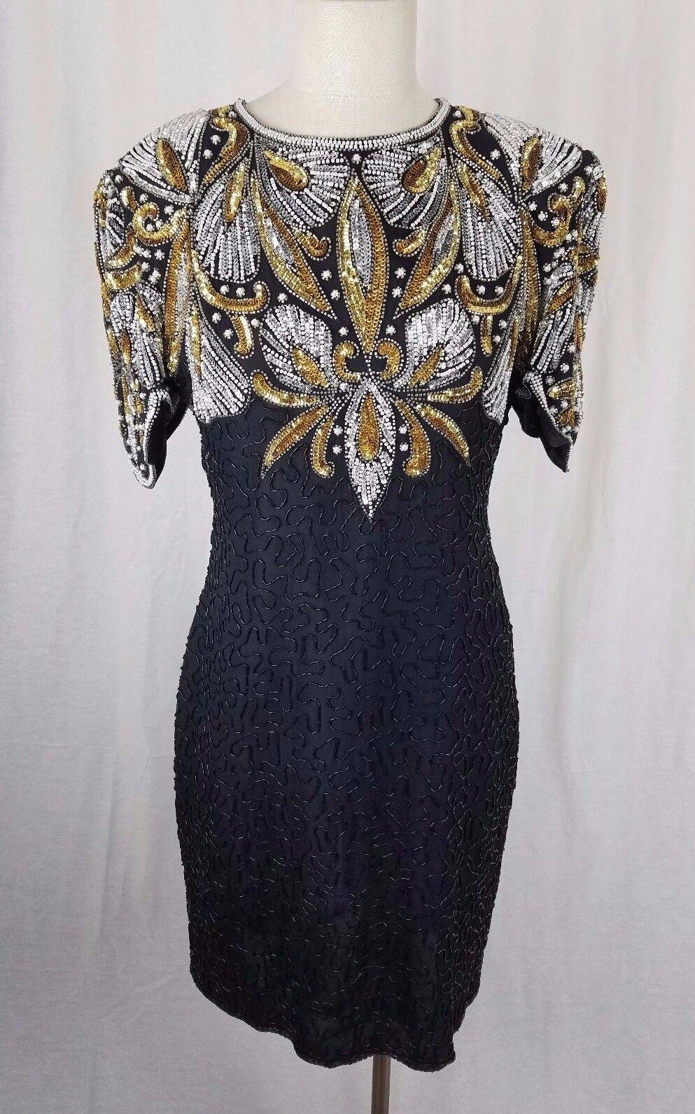 Vintage Designer LAURENCE KAZAR Glam Club Sequins Beaded Silk Formal Dress L
