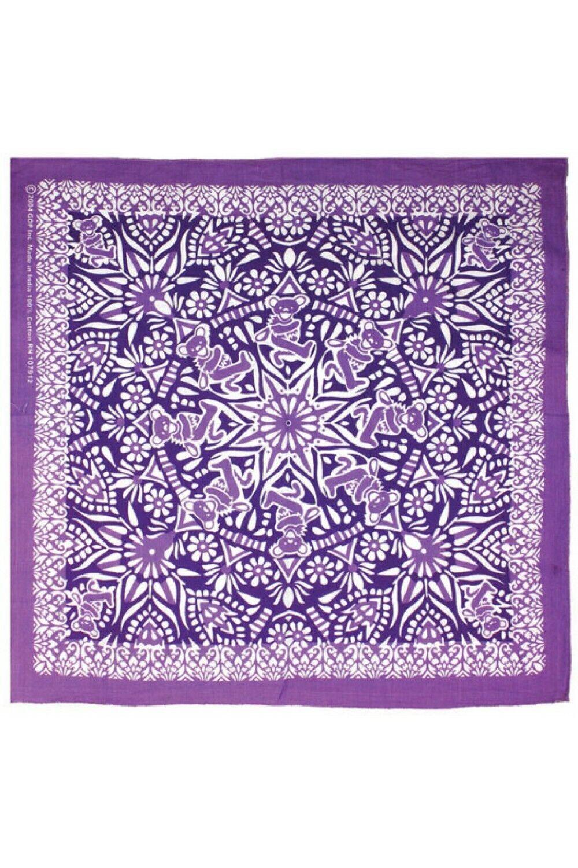GRATEFUL DEAD-BEAR MANDALA-Purple BANDANA-Headscarf,Mask-Garcia,Lesh,Wier,Hart