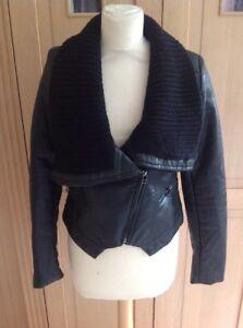 Drole in nera indossato taglia pelle sintetica maglia Copine Uk in Appena Colletto De Giacca M 10 8wrp8R