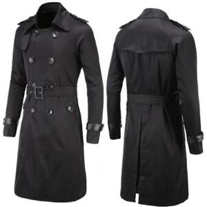 400d9a347 Mens Slim Double Breasted Long Trench Coat Belted Jacket Male Black ...