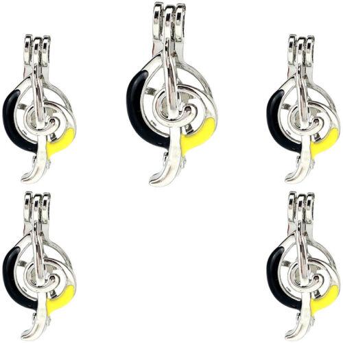 5 Pack Enamel Score Treble G Clef Music Note Beads Cage Locket Pendant K1046