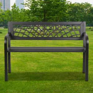 Patio-Park-Yard-Garden-Bench-Porch-Path-Chair-Outdoor-Deck-Steel-Frame-Furniture