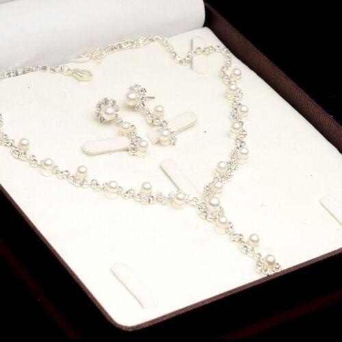 Schmuckset Collier Halskette Ohrringe Strass Perlen Brautschmuck Hochzeit Party