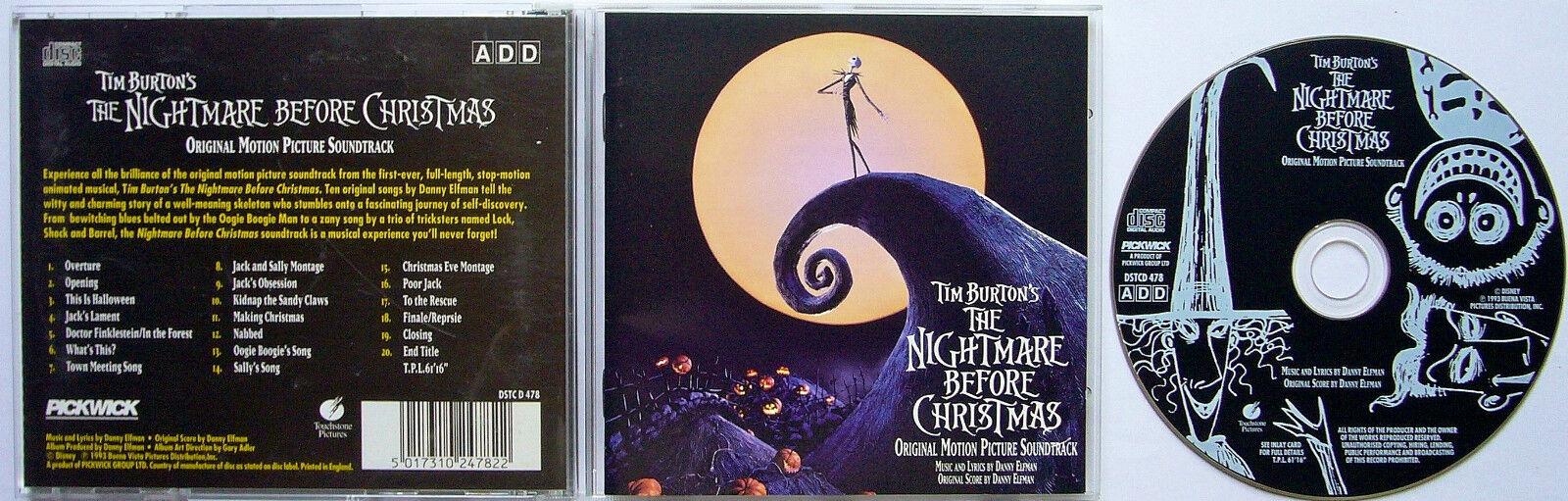 The Nightmare Before Christmas Soundtrack Danny Elfman Halloween ...