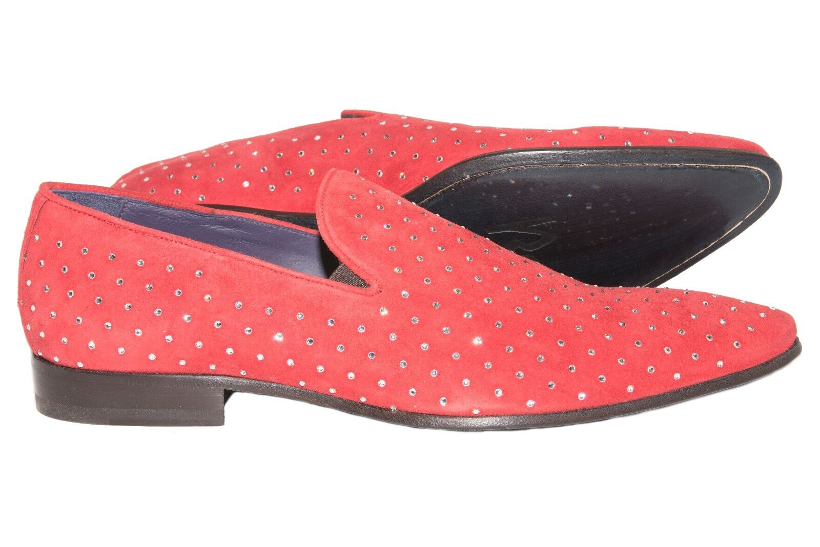 Roberto Guerrini B2282 Italian mens red suede shoes with swarovski elements