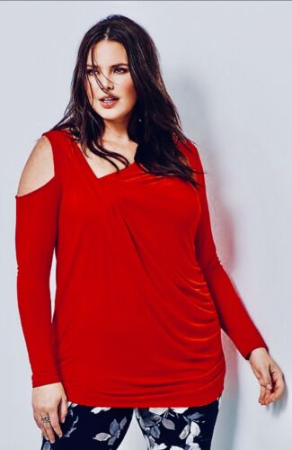 Ladies Smart Top Plus Size 22//24 26//28 30//32 Red Jersey Evening Blouse PS177