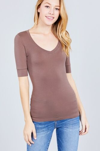 Women/'s V-Neck Elbow 3//4 Cuff Sleeve Basic T-Shirt Soft Stretchy Tee Top T9671