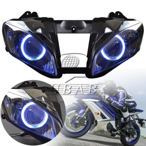 Assembly Headlight Projector Blue Angel Eyes Lamp For Yamaha YZF R6 2006 2007