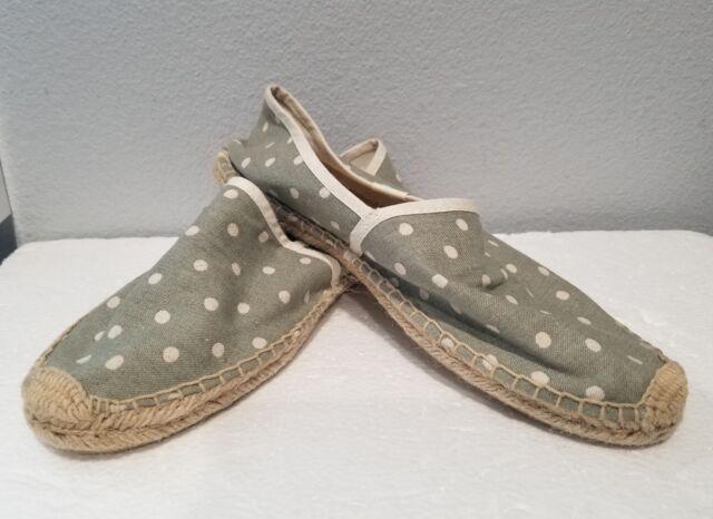 SOLUDOS Espadrilles Flats Shoes Sz 39 Green Polka Dots Cheers to Summer Womens
