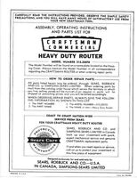 Craftsman Heavy Duty Router. Model No. 315.25070 Instructions