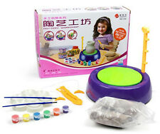 Cute Sunlight Making Pot, Pottery Wheel and Tools Complete Kit with Clay & Color