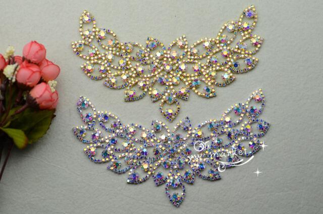 Bridal Sew On Dress Applique AB Crystal Rhinestone Wedding Supply Trim A488