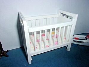 Baby Crib White Doll House Miniature Ebay