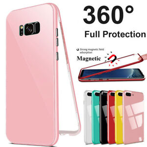 For-Samsung-Galaxy-Note-8-S7-S9-Plus-360-MAGNETIC-Hard-Glass-Phone-Cover-Case