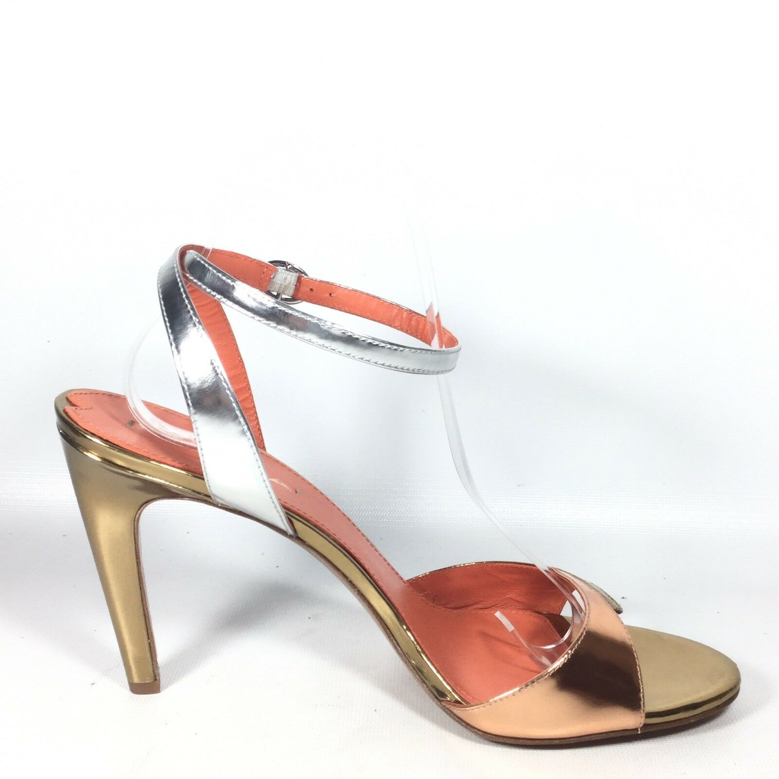 Via Spiga pinkmary Womens Size 9.5 M gold Silver Silver Silver Leather Heel Sandals. f41e60