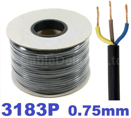 100m POND CABLE 0.75mm BLACK 6A RUBBER FLEX 240v 3 Core Round H05RN-F Wire 3183P