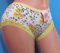 Paris Pink Yellow Floral Lace Trim Boy Booty Shorts Sissy Bikini Panties M Xl