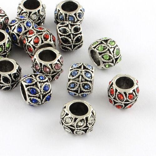 50 Pcs Antique Silver Plated Alloy Rhinestone Rondelle Large Hole European Beads