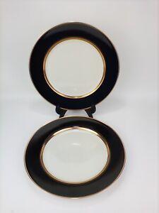 "Fitz and Floyd RENAISSANCE Black On Buff  & Gold 10 3/8"" Dinner Plates Set Of 2"