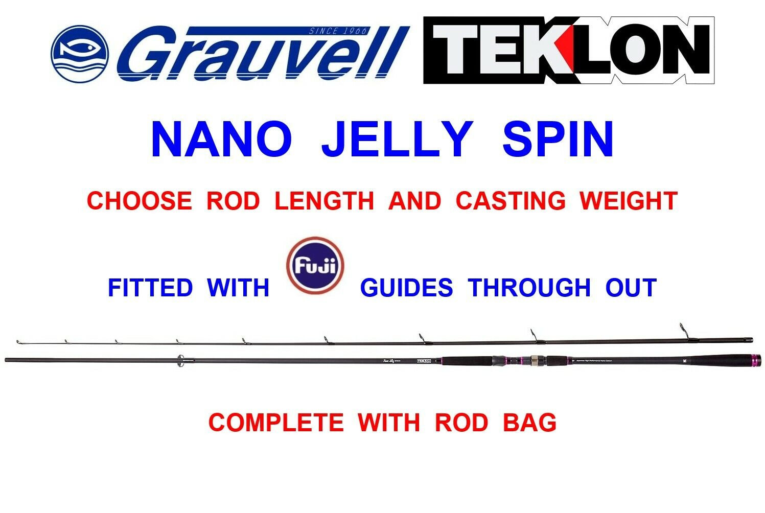 greyVELL TEKLON NANO JELLY SOFT LURE SPINNING ROD SEA SPIN GAME COARSE FISHING