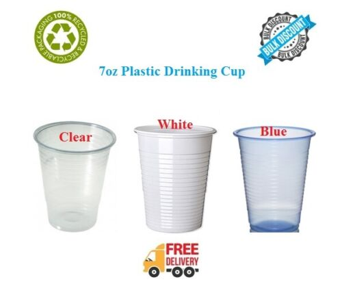 7oz Disposable Plastic Cups Glasses Party Birthday 7oz Clear White Drinking Cup