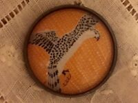 1 Erte Exotic Jewel Falcon Raptor Bird Art Deco Crystal Glass Metal Button Er26