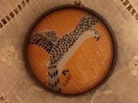 1 Erte Exotic Jewel Falcon Raptor Bird Art Deco Crystal Glass Metal Button Er26