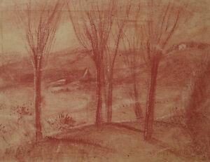 Landscape-Drawing-Antique-with-Sanguine-Signed-J-Grunenwald-allemagne-Austria