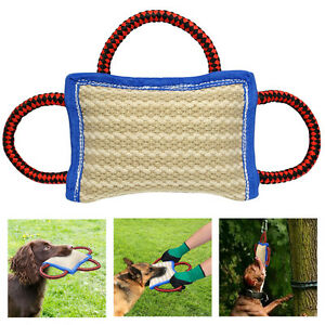 strong dog bite pillow with handle jute pet training builder chew