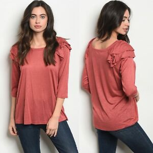 NWT-Women-s-Medium-Ruffle-Blouse-Long-Sleeve-BOUTIQUE-TOP