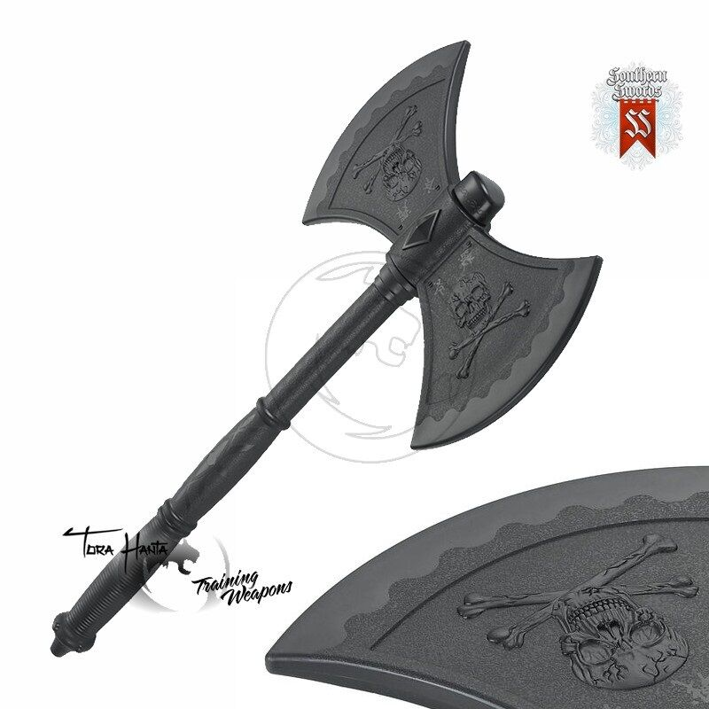 Plastic Rubber Double Headed Pirate Skull & Cross Bones Training   Costume Axe