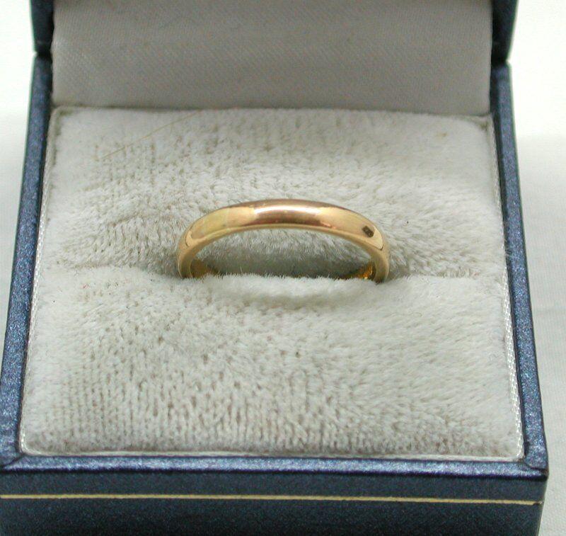 VINTAGE Samuel Hope Tinta Unita Unita Unita Stretto 22ct oro anello nuziale 251722