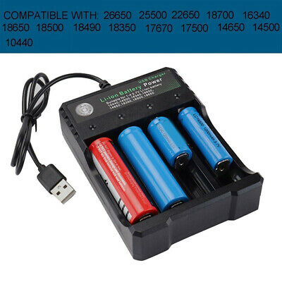 Universal USB 4 Slot Battery Charger Rechargeable 3.7V Li-ion For 18650 16340