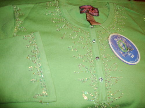 Tunic Cornell New S Green Knit Sweater April Vintage Romantic Beads Small Nwt tFqw5a0