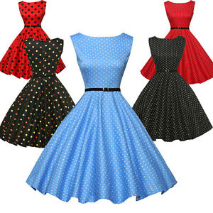 Womens-Vintage-Retro-Cotton-Vintage-50s-Swing-Pinup-Cocktail-Party-Prom-Dresses