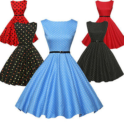CHEAP Vintage Style 50's 60's Swing Pinup Floral/Polka Dot Prom Dress