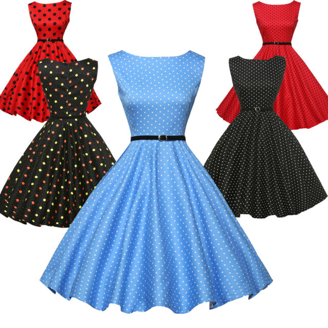 Plus Size Women Vintage Swing 40s 50s 60s Pinup Housewife Evening Tea Dress