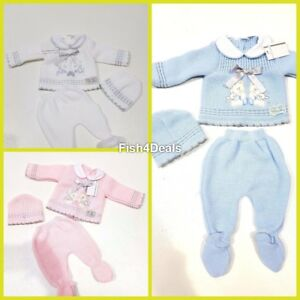 75a64db496849 3 Piece Knitted New Born Gift Set Blue Pink White For Baby Boy ...