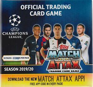 2019-20 Topps UEFA Champions League Soccer Match Attax 50pk. Display Box=300c.