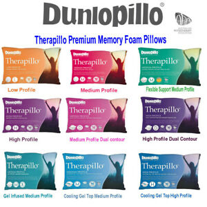 Dunlopillo-Therapillo-Memory-Foam-Low-Medium-High-Cooling-Gel-Top-Dual-Pillows