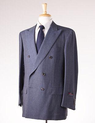 NWT $3995 D'AVENZA Slate Blue Stripe Subtle-Woven Wool Suit 42 R Handmade