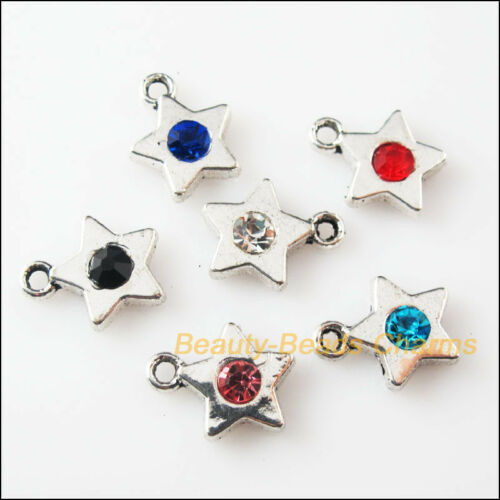 12 New Charms Glass Crystal Mixed Star Tibetan Silver Pendants 11.5x14mm