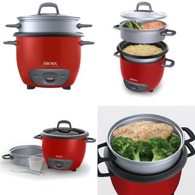 Simple User-Friendly 6-Cup Rival Electric Rice Cooker Nonstick Inner Pot Red