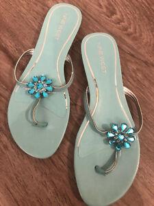 4f63eb5554116 NINE WEST Women s Light Blue Flip Flops with Flower Rhinestone Size ...