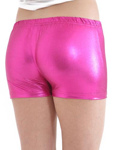 Femme Femmes Metallic Wet Look Chaud Pantalon Court Brillant Disco Party Pu Mini Short