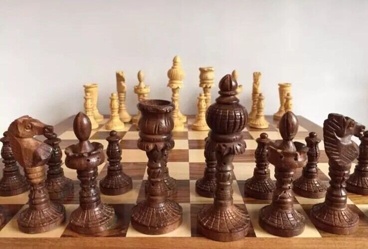 Large 14x14  Chess Set Storage Slots Handcarved Wooden Pawns Board Games